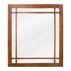 Hardware Resources - Hardware Resources MIR037 Wood Mirror - 21 in  x 24 in  Chestnut mirror with fretwork detail and beveled glass