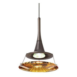 LBL Lighting - LBL Lighting Dimensions Dark Amber Monopoint 1 Light Track Pendant - LBL Lighting Dimensions Dark Amber Monopoint 1 Light Track PendantAdd a stunning accent to any home or business setting with this elegant pendant featuring a large optically pure Amber Swarovski ring shaped element illuminated by the included 35 watt GU4 base MR11 halogen lamp. This beautiful light will dazzle your guests as well as provide attractive bright white light.Each Monopoint lighting fixture includes a single-point canopy with built-in transformer right out of the box for a quick and easy installation.LBL Lighting Dimensions Dark Amber Monopoint Features: