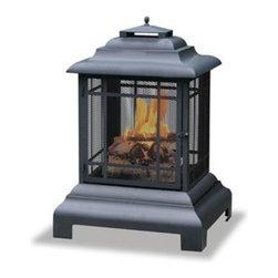 """Blue Rhino - Black Pagoda-Style Belmont Firehouse 30"""" - Uniflame WAF501CS 30"""" Black Pagoda-Style """"Belmont"""" Firehouse, 24.5""""W x 40.5""""H x 28.3""""D"""