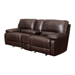 Coaster - Coaster Geri Transitional Reclining Motion Loveseat in Leather Match Brown - Coaster - Loveseats - 600021L - About This Product: Transitionally styled for an up-to-date look this piece features a modern furniture style with smooth pulled upholstery and soft padded cushions. The two reclining seats provide a casual comfort for evenings spent at home while a center storage console creates a space for beverages books and remotes. Pair this piece with its coordinating sofa for a two piece living room set.
