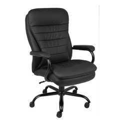 BossChair - Boss Heavy Duty Double Plush Caressoft plus Chair - 350 Lbs - Big man's chair. Heavy duty spring tilt mechanism. Pneumatic gas lift seat height adjustment. 27 brushed metal five star base. 3 double wheel casters. Weight capacity 350lbs. Upholstered in Black Caressoft Plus.