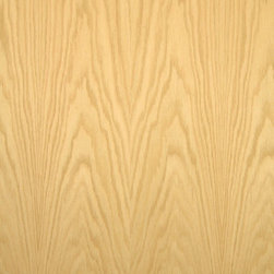 Flat Cut Red Oak Veneer - Plain sliced Red Oak veneer is an open grain wood whose color range is a light wheat color to a pink tone and is one of the most common woods used today. Available in a variety of backers and sizes.