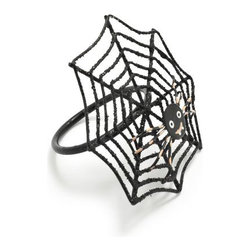 Black Spider Napkin Ring - Eek! Up the scare factor with these fabulous spiderweb napkin rings.