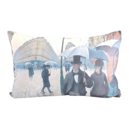 Poetic Pillow - Gustav Caillebotte Paris Pillow - Transform any space with a pillow from Poetic Pillow. Each pillow is inspired by fine works of art and printed on the front and back.   Covers are made of pre-shrunk satin-like polyester fabric. All seams are finished to prevent fraying and pillow covers have a knife edge finish.. A concealed zipper allows for ease of inputting pillow inserts.  A duck feather insert is included for soft yet supportive feel.  Cushion inserts are encased in a cotton cover and filled with 100% duck feather.  All research, design and packaging is completed in Oakland, California.