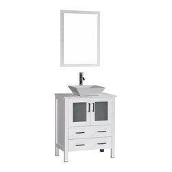 "Bosconi - 30"" Bosconi AB130S Single Vanity, White - Sophistication is priority with this fresh 30"" glossy white Bosconi vanity. The ceramic, square vessel sink and perfectly matching mirror accentuate the modernistic approach to the design. The center cabinet features soft closing doors and is spacious enough to store towels, toiletries and bathroom accessories."