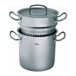 Fissler - Fissler Original Pro Collection Multi-Star - 084 103 20 002 - Shop for Stock Pots & Slow Cookers from Hayneedle.com! Perfect for pasta and seafood dishes the Fissler Original Pro Collection Multi-Star gives you a professional style design that makes the most of any cuisine. This pot features a German stainless steel construction with a CookStar base for even heating. Extra-large handles stay cool while a tight fitting lid features a Condensate-Plus function that keeps condensation collecting at the top of the lid. It is dishwasher and oven-safe and comes complete with internal strainer.