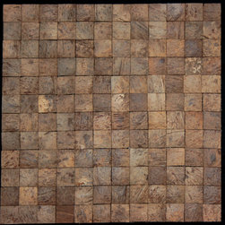 None - Square Natural Brown Convex Coconut Wall Tile - Add unique texture to your kitchen, bathroom or other wall space with these waterproof square wall tiles. Made of coconut, this brown tile features a mosaic pattern and comes as either a single tile or set of 11 pieces.
