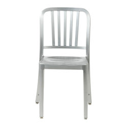 Cafe Side Chair (Set Of 2)-Matte - Need a light-weight, classy chair that's just as comfortable on the patio or deck as it is in the kitchen? This matte aluminum indoor/outdoor chair fits the bill to perfection and comes fully assembled in both counter and bar heights.