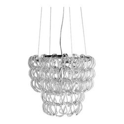 Letizia 16 Pendant - Intricately composed glass links create a compelling modern choice in a pendant.
