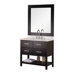 "Design Element - Design Element London 36"" Single Sink Vanity Set w/ Open Bottom - Espresso - The 36"" London Vanity is elegantly constructed of solid hardwood. The white Carrara Marble counter top's classic beauty and contemporary styled cabinetry bring a sophisticated and clean look to any bathroom. Seated at the base of the ceramic sink is a chrome finished pop-up drain designed for easy one-touch draining. An espresso framed mirror is included. This beautiful vanity includes two drawers and two pull-down hinged panels with satin nickel hardware, plus additional open storage space at the bottom. The London Bathroom Vanity is designed as a centerpiece to awe-inspire the eye without sacrificing quality, functionality or durability."