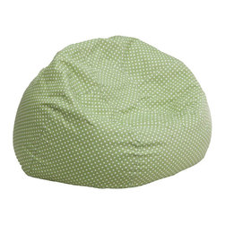 Flash Furniture - Small Green Dot Kids Bean Bag Chair - The comfy bean bag chair is a great way for kids to sink into comfort. The lightweight bean bag allows children to tote it all over the house. The slipcover can be removed for cleaning or spot cleaned upon accidents. Beads are securely contained with a metal safety zipper.