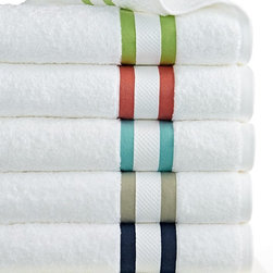 Kassatex Mayfair Stripe Bath Towel Collection - I always place a stack of clean towels on the guest bed so that no one has to search for them or guess which ones to use. I think the colored stripe on these would be perfect for helping guests identify their towels for the whole stay.
