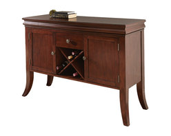 Steve Silver Furniture - Steve Silver Aubrey Server in Medium Brown Cherry - Server in Medium Brown Cherry belongs to Aubrey Collection by Steve Silver The sleek and simple look of the Aubrey server offers modest elegance with a touch of old-fashioned charm. Made of hardwood solids and cherry veneers, the server features cabinet and drawer storage as well as convenient wine storage.  Server(1)