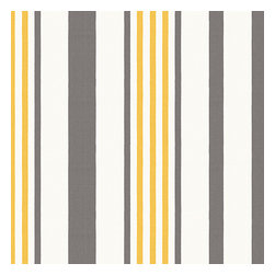 Grey, Yellow, & White Stripe Outdoor Fabric - White, gray & yellow outdoor stripe that's just hankering for those wide open spaces. Recover your chair. Upholster a wall. Create a framed piece of art. Sew your own home accent. Whatever your decorating project, Loom's gorgeous, designer fabrics by the yard are up to the challenge!