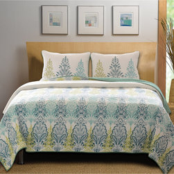 None - Bombay Cotton 3-piece Quilt Set - Intricate spires sweep across the border of the global Bombay cotton quilt set. Reversing to an all-over coordinating print,this stunning quilt is oversized for better coverage on today's deeper mattresses.