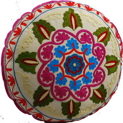White Swirl Round Floor Pillow - Add style to your living room picnic with this gorgeous hand embroidered floor pillow. Rich green, deep magenta and bright blue with red and cream accents create a stunning pattern that's both classy and colorful. When not in use, pile a few in the corner or prop up on the sofa for a kaleidoscope of color.