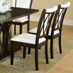 Homelegance - Homelegance Garvey Side Chair w/ White Bi-Cast Vinyl Seat - Beautiful from every angle, the ebony finished Garvey Collection is a unique addition to your contemporary or transitional casual dining room. The boldly designed base of the table features interwoven wood slats creating a birdcage effect. The radiating walnut veneer pattern of the tabletop creates another design layer that takes the style to the next level. With two chair options, the collection becomes exactly what you envision. White or dark brown bi-cast vinyl seating and backs are accented with the base's X-design rounding out the look. - 2539WS.  Product features: X-back design; White bi-cast vinyl seating; Ebony finish. Product includes: Side Chair (1). Side Chair w/ White Bi-Cast Vinyl Seat belongs to Garvey Collection by Homelegance.