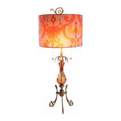 """Luna Bella - The Joann Table Lamp by BSEID - Gracefully statuesque in brass with a hand painted umber finish, the Joann Table Lamp is a masterpiece. The ridged amber glass is accented with touches of metal leaf. The radiance of the silk charmeuse shade is accentuated beautifully with light. Two 40 Watt bulbs. (LB) 13"""" diameter x 31"""" high"""