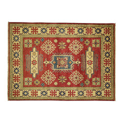 Manhattan Rugs - New Vermilion Persian Super Kazak 5' X 7' Hand Knotted Wool Geomation Rug H4044 - Kazak (Kazakh, Kasak, Gazakh, Qazax). The most used spelling today is Qazax but rug people use Kazak so I generally do as well.The areas known as Kazakstan, Chechenya and Shirvan respectively are situated north of Iran and Afghanistan and to the east of the Caspian sea and are all new Soviet republics. These rugs are woven by settled Armenians as well as nomadic Kurds, Georgians, Azerbaijanis and Lurs. Many of the people of Turkoman origin fled to Pakistan when the Russians invaded Afghanistan and most of the rugs are woven close to Peshawar on the Afghan-Pakistan border.There are many design influences and consequently a large variety of motifs of various medallions, diamonds, latch-hooked zig-zags and other geometric shapes. However, it is the wonderful colours used with rich reds, blues, yellows and greens which make them stand out from other rugs. The ability of the Caucasian weaver to use dramatic colours and patterns is unequalled in the rug weaving world. Very hard-wearing rugs as well as being very collectable
