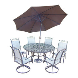 Oakland Living - 9-Pc Outdoor Dining Set in Black - Includes table, two swivel rockers, four dining chairs, 9 ft. tilt crank umbrella with stand and metal hardware. Fade, chip and crack resistant. Traditional lattice pattern and scroll work. Rust free and handcast. Hardened powder coat. Warranty: One year limited. Made from cast aluminum and sling. Minimal assembly required. Table: 60 in. Dia. x 29 in. H (70 lbs.). Dining chair: 24 in. W x 30.5 in. D x 40 in. H (12 lbs.). Swivel chair: 24 in. W x 30.5 in. D x 40 in. H (16 lbs.)The Oakland Cascade Collection combines contemporary style and modern designs giving you a rich addition to any outdoor setting.