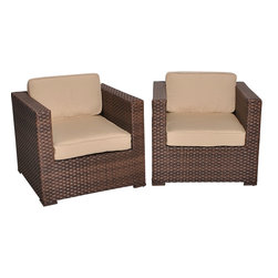 International Home Miami - Atlantic Bellagio Armchair 2-Piece Patio Set Deluxe 2 Atlantic Armchair - Great quality, stylish design patio sets, made entirely of high quality resin. No metal parts. I won't rust. Polyester cushion with water repellant treatment. Enjoy your patio with elegance all year round with the wonderful Atlantic outdoor collection.