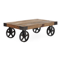ZUO ERA - Barbary Coast Cart Table Distressed Natural - Looking for something unique in a coffee table? The Barbary Coast cart table is inspired by the early 1900s industrial period, when carts were utilized to transport goods in factories. This table is constructed of solid elm and features antiqued metal wheels instead of legs.