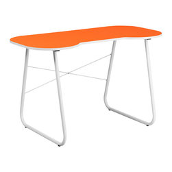 Flash Furniture - Flash Furniture Orange Computer Desk with White Frame - This spacious Computer Desk has a simple design when needing a desk for writing, reading, homework and laptop usage. This desk features a small cutout that allows you to pull your chair close up to the desk.