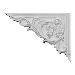 """Ekena Millwork - 8 5/8""""W x 6 1/4""""H x 5/8""""D Flower Stair Bracket, Left - With the beauty of original and historical styles, decorative stair brackets add the finishing touch to stair systems.  Manufactured from a high density urethane foam, they hold the same type of density and detail as traditional plaster stair bracket products.  They come factory primed and can be easily installed using standard finishing nails and/or polyurethane construction adhesive."""