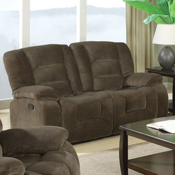 Coaster - Charlie Motion Loveseat, Brown Sage - See and feel the softness and ultimate comfort of the Charlie collection. Wrapped in a plush and comfortable textured padded velvet in brown sage, this sofa set is sure to match your home and style. Features high density foam cushions and pocket coil seating.