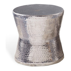 Kathy Kuo Home - Surabaya Global Bazaar Hammered Nickel Round Side End Table - Bring a global perspective to your space with this curvaceous side table. It's shapely, hourglass figure is highlighted with hammered detailing that brings a glamorous glow wherever you place it — whether next to your chaise lounge or flanking your sofa.