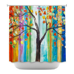 DiaNoche Designs - Shower Curtain Artistic Color Tree - DiaNoche Designs works with artists from around the world to bring unique, artistic products to decorate all aspects of your home.  Our designer Shower Curtains will be the talk of every guest to visit your bathroom!  Our Shower Curtains have Sewn reinforced holes for curtain rings, Shower Curtain Rings Not Included.  Dye Sublimation printing adheres the ink to the material for long life and durability. Machine Wash upon arrival for maximum softness on cold and dry low.  Printed in USA.