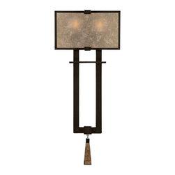 Fine Art Lamps - Fine Art Lamps 600550ST Singapore Moderne Patinated Bronze Wall Sconce - 2 Bulbs, Bulb Type: 60 Watt Candelabra; Weight: 10lbs