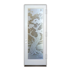 Sans Soucie Art Glass (door frame material Plastpro) - Glass Front Entry Door Sans Soucie Art Glass Bonsai 3D - Sans Soucie Art Glass Front Door with Sandblast Etched Glass Design. Get the privacy you need without blocking the light, thru beautiful works of etched glass art by Sans Soucie!  This glass is semi-private.  (Photo is view from outside the home or building.)  Door material will be unfinished, ready for paint or stain.  Bronze Sill, Sweep and Hinges. Available in other sizes, swing directions and door materials.  Dual Pane Tempered Safety Glass.  Cleaning is the same as regular clear glass. Use glass cleaner and a soft cloth.