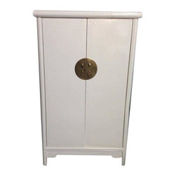Pre-owned Lacquered Asian Cabinet - This unusual cabinet has been freshly lacquered in off-white and would be lovely with a gold or brass round mirror hung over it in a living room or foyer.  It would also make a nifty bar cabinet. It has two drawers (napkins? bottle openers? swizzle sticks?) and a nice sized interior shelf.  Bring this baby home, set it against a gray, dark green, or deep red wall and stock it with your favorite beverages. Professionally lacquered.