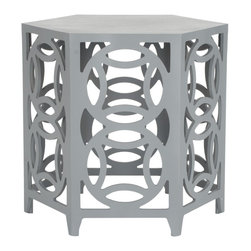 Safavieh - Valence Side Table - What is good is good. Embrace circular logic with the Valence Side Table.  This chic accent piece adds contemporary charm with interlocking circles and the clean lines of its hexagonal tabletop. Perfect for classic interiors that need a punch and at home in the modern abode, Valence is crafted with Bayur wood in pearl blue grey painted finish.