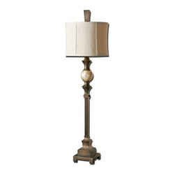 Uttermost - Uttermost 29293-1 Tusciano Lamp - Uttermost 29293-1 Carolyn Kinder Tusciano LampHand rubbed dark bronze finish accented with a lightly stained capiz shell ball. The round modified drum shade is a khaki linen fabric with natural slubbing.Features: