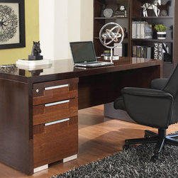 "Pisa Desk - Create an elegant office with our Pisa collection. Beautifully crafted in Italy in a unique walnut canaletto veneer with zebra wood inlays and a high gloss protective finish. The desk comes in three sizes; 48"", 63"" and 71"" with two hidden holes on the left and right of the modesty panel for easy wire management. The executive desk (71"") also has two holes on the desk for additional wire management. This is exceptional Italian design and ingenuity."