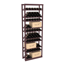 Wine Racks America - Baker Style Case/Bottle Rack in Pine, Burgundy Stain + Satin Finish - This wine rack kit is a versatile and beautiful addition to your wine cellar. This rock solid kit withstands extensive use of storing bottles and cases together in one place. That's a guarantee. As a freestanding solution or included with a complete wine cellar, you'll love this rack.