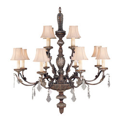 Fine Art Lamps - Stile Bellagio Chandelier, 808940ST - Things sure are looking up. This piece of grandly scaled elegance features 12 lights with hand-sewn silk shantung shades and a graceful body in a crackled finish with silver accents. Your grand foyer or cathedral-height great room will positively dazzle.