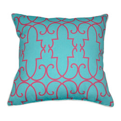 """Loom and Mill - Loom and Mill Damask Decorative Pillow, Blue, 18"""" x 18"""" - We love these Mid-Century inspired decorative pillows. They add amazing pops of color and a unique geometric style without leaving out comfort and quality.  Spot clean only."""