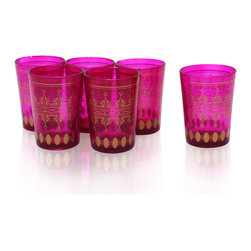 Divine Designs - Set of 6 Magenta Moroccan Tea Glasses - These stunning Moroccan tea glasses offer a new and unique experience to dining and entertaining. The vibrant color and distinguishing design is stylish and designed to impress.