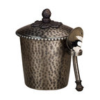 """Gracious Goods GG - GG Antique Silver Hammered Metal Ice Cream Bucket - Life just got sweeter with this elegant ice cream bucket, topped with a decorative metal finial. Serve or share a frost dessert in our high quality Gracious Good bucket in the Antique Silver finish! Match this with our extensive line or hammered metal serve ware by the GG Collection to complete your set.   * Dimensions: W: 6"""" D: 5"""" H: 9""""  * Capacity: 1 pint  * Includes a metal scoop"""