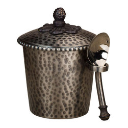 "Gracious Goods GG - GG Antique Silver Hammered Metal Ice Cream Bucket - Life just got sweeter with this elegant ice cream bucket, topped with a decorative metal finial. Serve or share a frost dessert in our high quality Gracious Good bucket in the Antique Silver finish! Match this with our extensive line or hammered metal serve ware by the GG Collection to complete your set.   * Dimensions: W: 6"" D: 5"" H: 9""  * Capacity: 1 pint  * Includes a metal scoop"