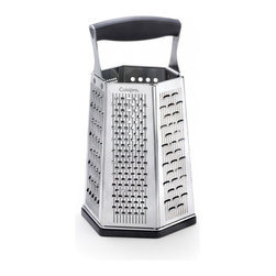 Cuisipro - Cuisipro SGT 6-Sided Boxed Grater with Bonus Ginger Grater - Surface Glide Technology graters, grates more with less effort. Cuisipro graters offer even grating surfaces: Fine for citrus zest and Parmesan, coarse for most cheeses and vegetables, ultracoarse for soft cheeses, Parmesan for parmesan and chocolate, shaver for chocolate and parmesan, slicer for a variety of vegetables. Bonus Ginger Grater in base shreds fresh ginger root while leaving unwanted fibers behind; nonslip handle and removable base for stability. Calibrated, dry measuring units on side. Stainless steel blade; hand wash preferred.