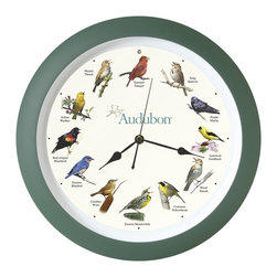 """Mark Feldstein - Mark Feldstein and Associates Audubon Singing Bird Clock 13 in Green, AUD13 - 12 of the most popular North American birds are featured on this 13"""" Audubon Singing Bird Clock framed in Green Matte. Each hour is announced by the beautiful song of that particular bird -- a different song every hour. Perfect for wall or desk, using the built-in stand. Light sensor deactivates the sounds when the room is dark. Officially licensed by the National Audubon Society. Guidebook Included.Birds: Summer Tanger, Hermit Thrush, Yellow Warbler, Red-winged Blackbird, Eastern Bluebird, Carolina Wren, Song Sparrow, Purple Martin, American Goldfinch, Wood Thrush, Common Yellowthroat, and Eastern MeadowlarkThe Audubon mission is to conserve and restore natural eco-systems, focusing on birds, other wildlife, and their habitats for the benefit of humanity and the earth's biological diversity."""