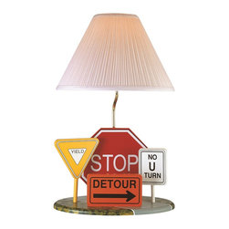 Lite Source - Lite Source Highway Signs Kids Table Lamp X-60102SH3 - Whether your child loves dump trucks or the big city, this charming Lite Source kids lamp is sure to please. The body features a plethora of signs including a yellow yield, red stop sign, orange detour sign and more. The signs have been paired with a silver column and a pleated white fabric shade that completes the look.
