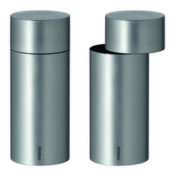 Mono - Exzentrik Pepper and Salt Mill Set - Pepper and salt have never looked like such a modern, debonair pair. These stainless steel pepper and salt mills, in up-to-the-minute cylindrical designs, take your tabletop into high style flavor territory in an instant.