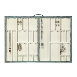 Home Decorators Collection - Jolie Wall Jewelry Holder - Crafted in the shape of a suitcase complete with top handle, our Jolie Wall Jewelry Holder offers you a lovely and convenient way to display and organize your baubles. The distressed turquoise frame splits the holder into two sections, each one divided into compartments of varying sizes with hanging hooks at the top. This unique design accommodates both long necklaces and short earrings. 26 compartments with 2 hooks each. Holds up to 30 pounds.