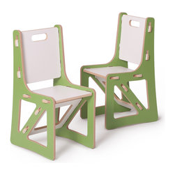 Quark Enterprises - Kids Chair Set, Green and White - It's a welcome relief for most eco-minded folks to invest in kids furniture that's not plastic. These chairs are solid and surprisingly easy to assemble. And you'll love mixing and matching these pieces with other Sprout products.