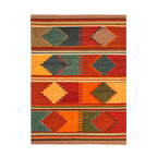 Jaipur Rugs - Flat Weave Tribal Pattern Multi Color Wool Handmade Rug - AT04, 2x3 - Feel the warmth. The classic tribal print of this wool rug will fill your room with color and relaxing comfort. Easily cleaned with regular vacuuming, its natural wool fiber resists stains and dirt. Beautiful and handwoven by Indian artisans.